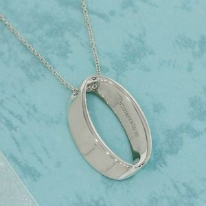 Tiffany & Co Sterling Silver Oval Pendant necklace